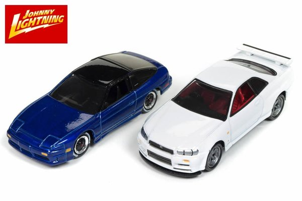 1999 Skyline R34 - 1992 Nissan 240SX - Johnny Lightning 1:64 #JLPK004