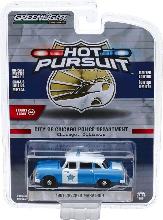 1:64 Hot Pursuit Series 34 - 1961 Checker Marathon - City of Chicago Police Department 42910-B