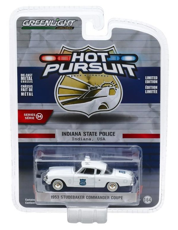 1:64 Hot Pursuit Series 34 - 1953 Studebaker Commander Coupe - Indiana State Police 42910-A