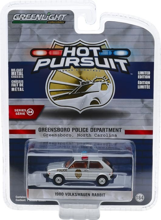 1:64 Hot Pursuit Series 34 - 1980 Volkswagen Rabbit GOLF - Greensboro, North Carolina Patrol 42910-D
