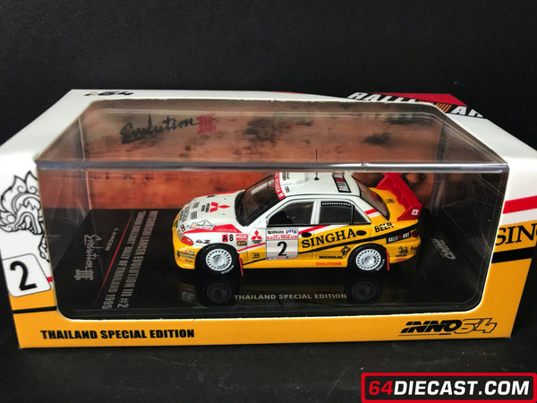 "1:64 MITSUBISHI LANCER EVOLUTION III #2 ""SINGHA RALLIART"" Rally of Thailand 1995"
