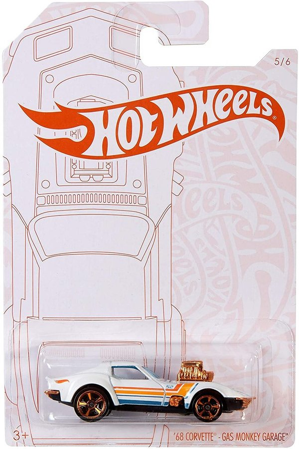 Hot Wheels 2020 Pearl and Chrome 5/6 - '68 Corvette Gas Monkey Garage (White)