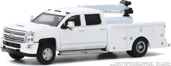 46040-A 1:64 Dually Drivers 2016 Chevrolet Silverado 3500 Dually Crane Truck - White