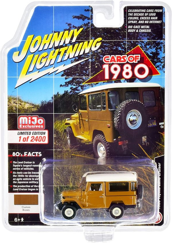 1980 Toyota Land Cruiser Brown with White Top and White Interior 1/64 Johnny Lightning JLCP7330