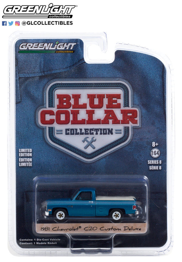 35180-D | 1:64 Blue Collar Collection Series 8 - 1981 Chevrolet Custom Deluxe 20 with Bed Cover
