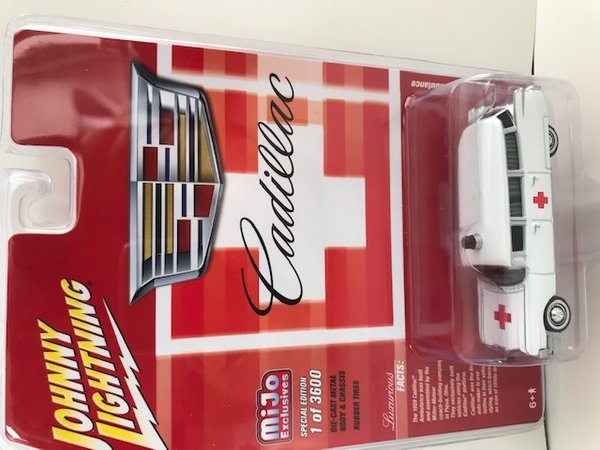 Johnny Lightning 1959 Cadillac Ambulance, white/red jlcp7350